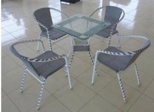 bàn ghế cafe mây nhựa giá rẻ tại xưởng sản xuất HGH 150