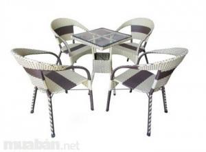 bàn ghế cafe mây nhựa giá rẻ tại xưởng sản xuất HGH 402
