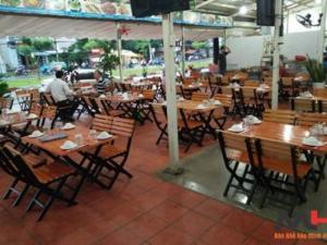 Bàn ghế gổ quán nhậu giá rẻ tại xưởng sản xuất HGH 164