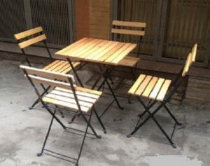 bàn ghế gỗ cafe giá rẻ tại xưởng sản xuất HGH 462