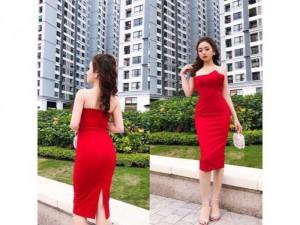 Đầm body đỏ ngọc trai