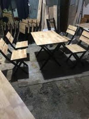 bàn ghế gổ quán nhậu giá rẻ tại xưởng sản xuất HGH 197