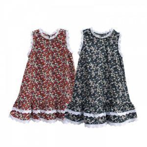 Đầm suông hoa nhí 3 màu phối viền ren cho bé gái Hikari-5 xinh xắn, dễ thương