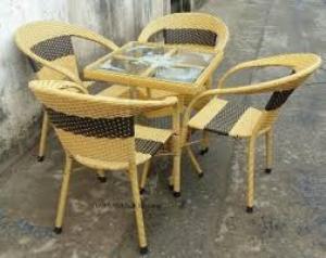 Bàn ghế cafe mây nhựa giá rẻ tại xưởng sản xuất HGH 495