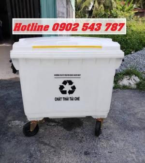 Xe thu gom rác nhựa composite 660 lít màu trắng, Thùng rác 660 lít đựng rác thải tái chế