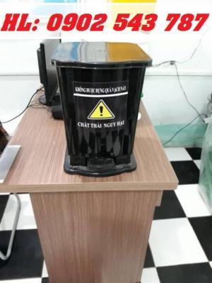 Thùng đựng rác y tế 10 lít có đạp chân, Thùng rác10 lít đạp chân có logo y tế