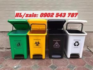 Thùng đựng rác thải y tế 25 lít đạp chân, thùng đựng rác 25 lít có logo y tế