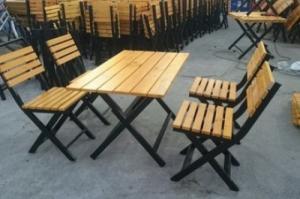 Bàn ghế GỔ cafe mây nhựa giá rẻ tại xưởng sản xuất HGH 584