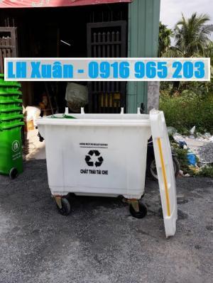 Thùng rác 660 lít nhựa hdpe màu trắng, xe rác 660 lít màu trắng nhựa hdpe