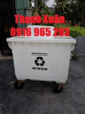Xe rác 660 lít màu trắng nhựa hdpe, xe thu gom rác thải tái chế bệnh viện 660 lít