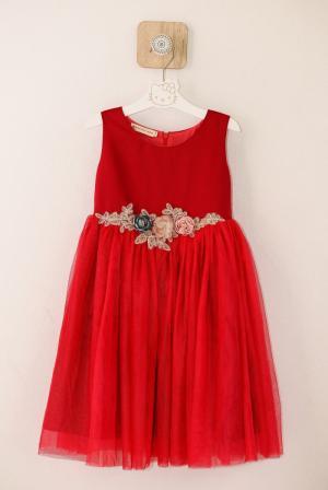 Đầm xòe đỏ đính hoa ren eo cho bé gái HIKARI-12