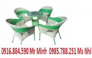 Bàn ghế cafe mây nhựa giá rẻ tại xưởng sản xuất HGH 639