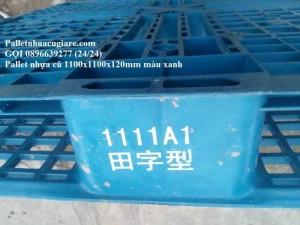 Pallet nhựa cũ 1100x1100x120mm màu xanh