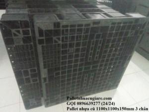 Pallet nhựa cũ 1100x1100x150mm 3 chân