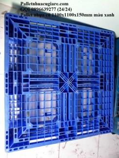 Pallet nhựa cũ 1100x1100x150mm màu xanh dương