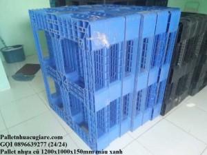 Pallet nhựa cũ 1200x1000x150mm màu xanh