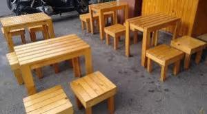 Bàn ghế gổ cafe giá rẻ tại xưởng sản xuất HGH 643