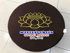 Bồ Đoàn Thêu Sen Size Tròn 50x5cm - Đệm Quỳ Lễ Phật - Đệm Ngồi Thiền.