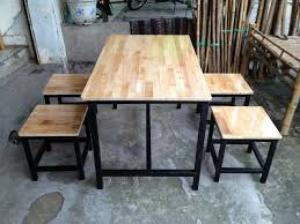 Bàn ghế gổ cafe giá rẻ tại xưởng sản xuất HGH 676
