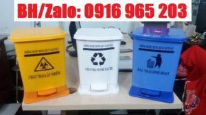 Thùng rác màu vàng 15 lít, thùng rác đạp chân y tế