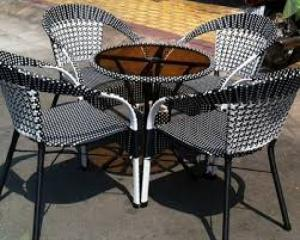 Bàn ghế cafe mây nhựa giá rẻ tại xưởng sản xuất HGH 688