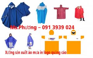 Xưởng sản xuất áo mưa cánh dơi in logo giá rẻ, áo mưa quà tặng công ty