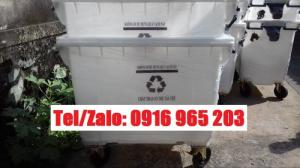 Tp hcm: thùng rác màu trắng 660 lít nhựa hdpe, xe thu gom rác tái chế 660 lít