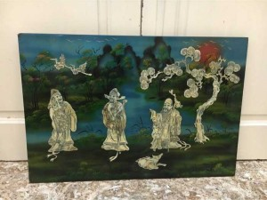 Tranh sơn mài khảm trai Tam đa Tùng hạc đã qua sử dụng, nền xanh