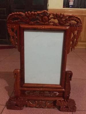 Khung ảnh thờ trạm rồng kích thước ảnh thờ 20x30 cm bằng gỗ hương