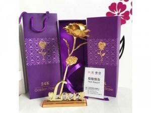 Quà tặng hoa hồng mạ vàng Full box