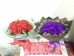 Quà tặng hoa hồng sáp bó tròn sang trọng nhiều màu đẹp
