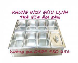 Khung inox trà sữa âm bàn 8 ngăn có chức năng giữ nhiệt