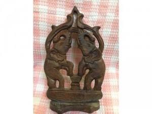 Phù điêu cặp voi gỗ Lào, có chân đế để bàn, hàng handmade 100%, hình tượng của đất nươc triệu voi