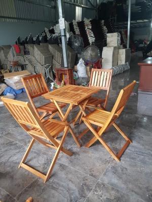 Bộ bàn ghế cafe gỗ xếp cao giá rẻ bền đẹp