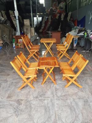 Bàn ghế cafe gỗ xếp size nhỏ VĐ002