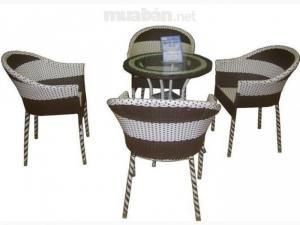 Bàn ghế cafe mây nhựa giá rẻ tại xưởng sản xuất HGH 832
