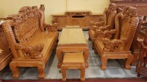 Bộ bàn ghế tay 12 với tên gọi lưỡng long chầu nguyệt