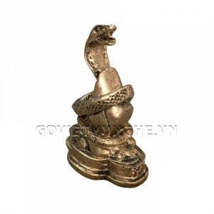 Tượng Đá Trang Trí Rắn Phong Thủy - Màu Nhũ Vàng