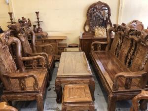 Bộ bàn ghế tay 10 , lối chạm đẹp , nhỏ gọn