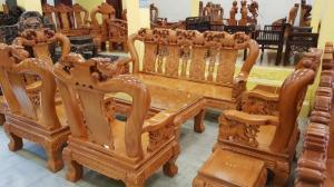 Bộ bàn ghế chạm đào tay 14, hàng đẹp tại Tiền Giang
