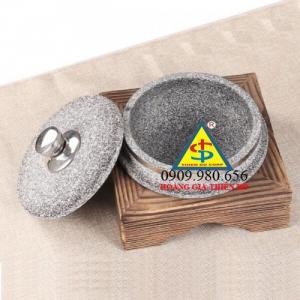 Nồi đá, tô đá Hàn Quốc có nắp  làm gà tần sâm Hàn Quốc có đế gỗ đứng