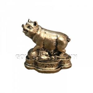 Tượng Đá Trang Trí Heo Phong Thủy - Màu Nhũ Vàng
