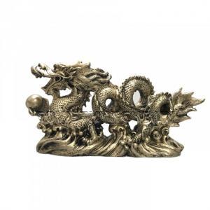 Tượng Đá Trang Trí Rồng Phong Thủy - Màu Nhũ Vàng
