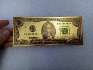 Tiền 2 usd mạ vàng plastic, series 68686888