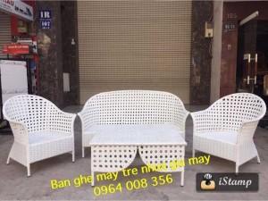 Bộ sofa sân vườn nhựa giả mây tặng kèm nệm chuẩn Âu