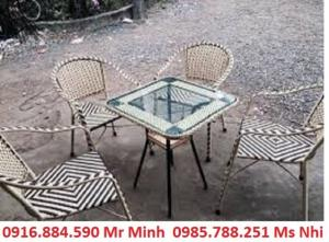 Bàn ghế cafe mây nhựa giá rẻ tại xưởng sản xuất HGH 1046