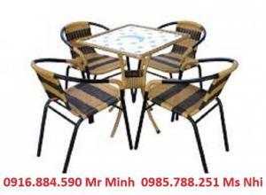Bàn ghế cafe mây nhựa giá rẻ tại xưởng sản xuất HGH 1051