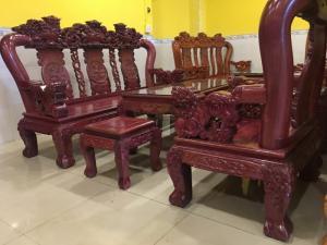 Bộ Bàn Ghế Cẩm Lai Tay 12 6 mon VIP