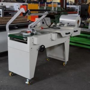 Máy cắt màng co hộp bán tự động POF DFQA450, máy cắt dán lõi lọc nước, máy cắt dán hộp giấy