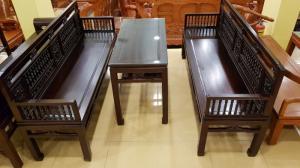 Bộ bàn ghế trường kỷ song tiện màu gỗ đẹp mắt